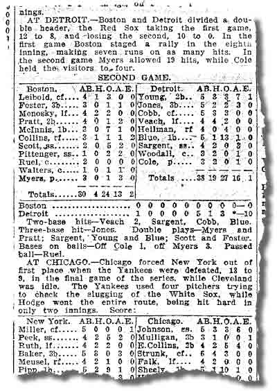 Box score of Ty Cobb's 3000 hits